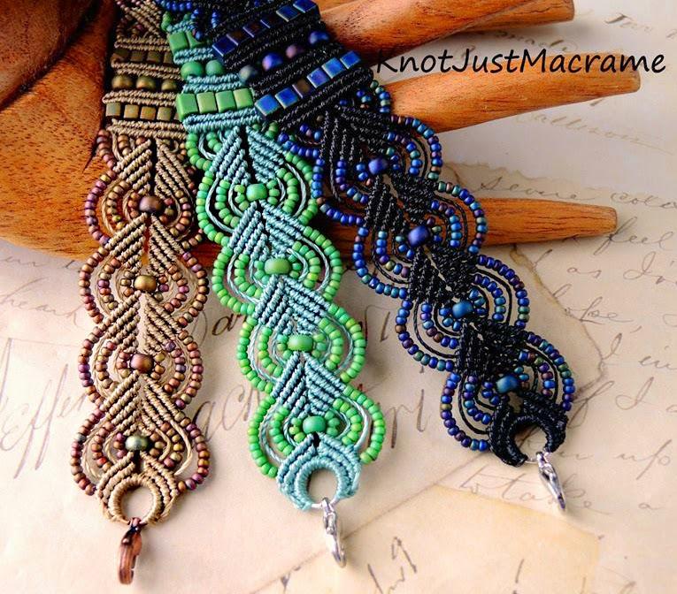 Micro macrame Leave bracelets by Sherri Stokey.