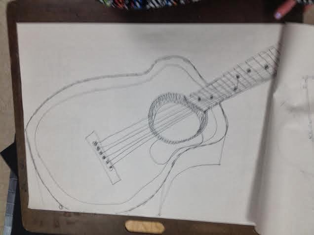 Contour Line Drawing Guitar : Hannah s art drawing