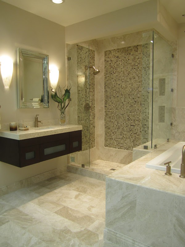 New queen beige marble bathroom the tile shop design by for Queen bathroom decor