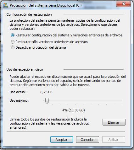 ventana para configurar la proteccion del sistema en la unidad de disco