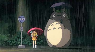 Totoro at the bus stop My Neighbor Totoro 1988 animatedfilmreviews.blogspot.com