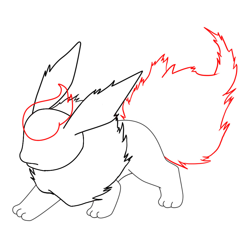 Just Like You Did For Flareon's Fur Collar, Draw Another Very Jagged Shape  At The Back Of His Body For A Tail Keep The Lines As Sharp As Possible To  Make