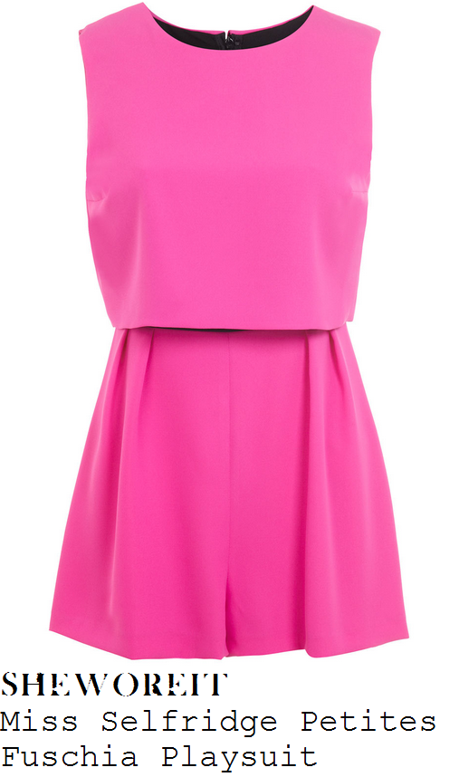 stephanie-waring-bright-hot-pink-sleeveless-overlay-flared-short-playsuit