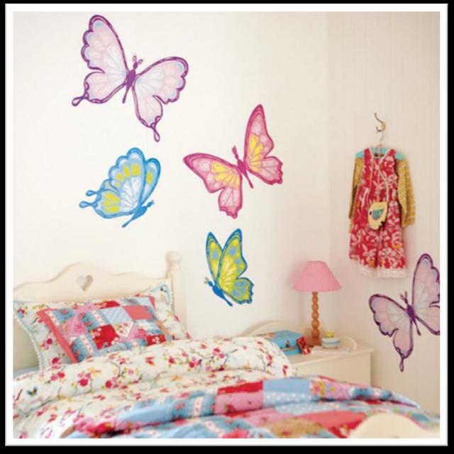 Dormitorios con mariposas for Stickers para habitaciones