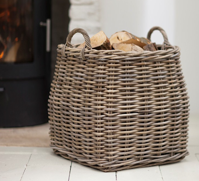 log basket, rattan