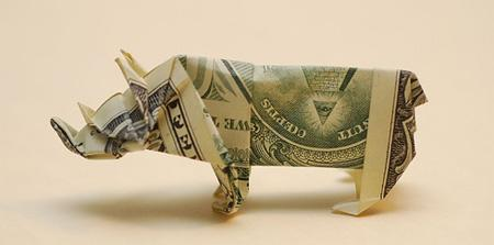Dollar Bill Origami, Origami Art, Origami Rhino