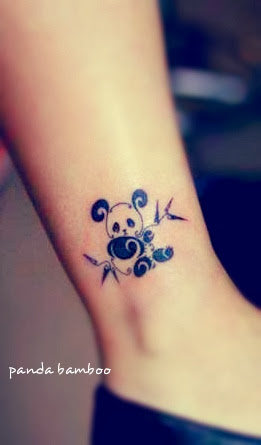 Cute baby panda tattoo on ankle
