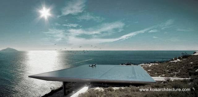 Vista a vuelo de pájaro del techo piscina de la residencia soterrada griega