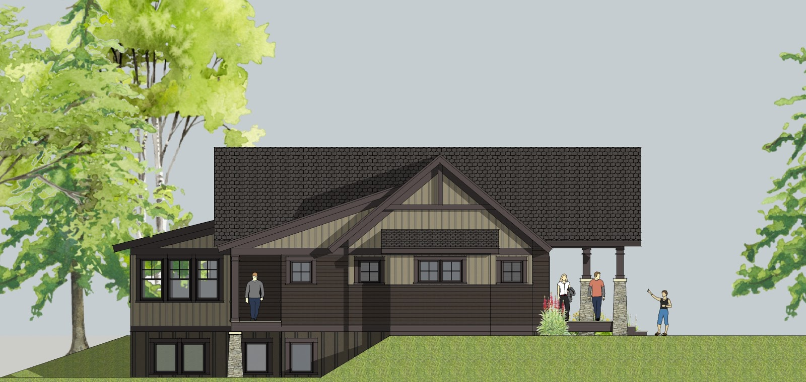 left side elevation - designed for a walkout lot