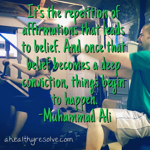 It's the repetition of affirmations that leads to belief. And once that believe becomes a deep conviction, things begin to happen. - Muhammad Ali