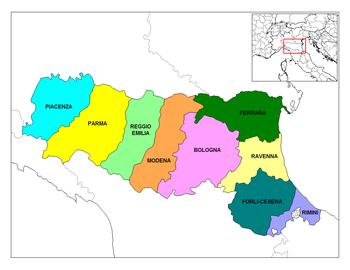 Mapa de Emilia-Romaña Imagen