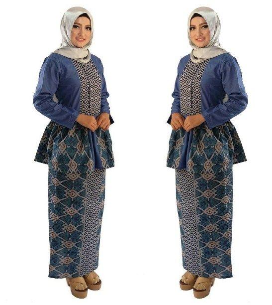 E    Model Baju Batik Setelan Wanita Kombinasi Rok Panjang Modern