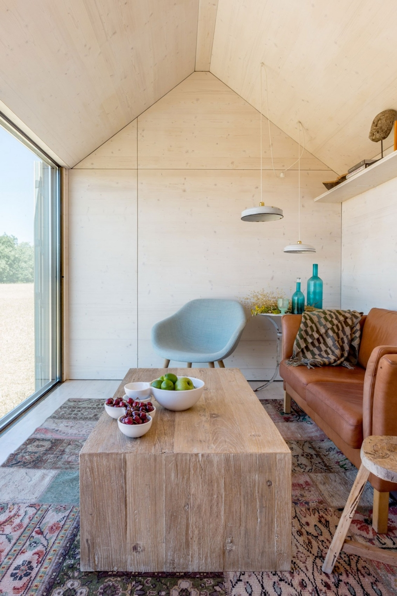 Wooden coffee table in a portable home