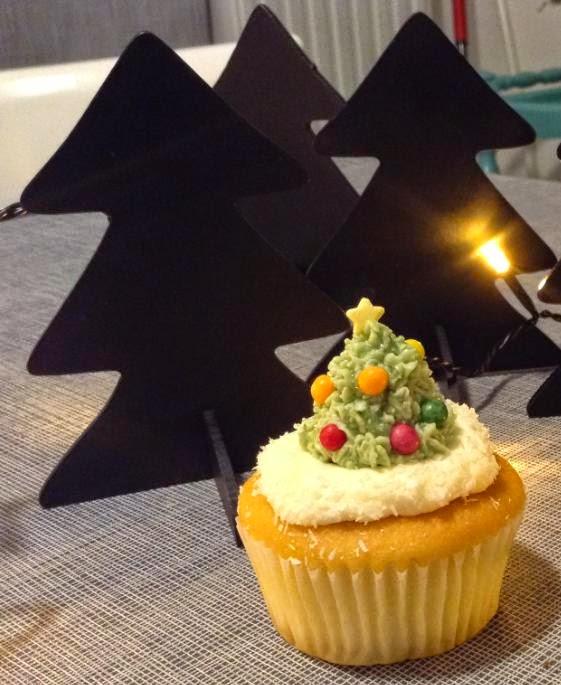 Cupcakes de Noël: sapin de Noël