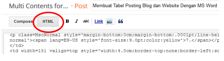 Membuat Tabel Posting Blog dan Website Dengan MS Word