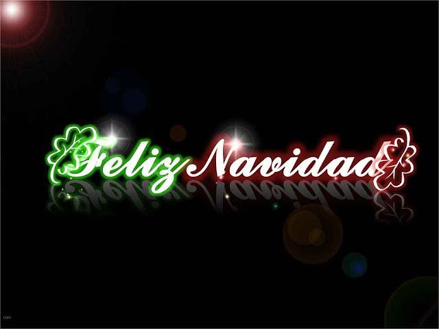 Feliz navidad en fondo negro con letras verdes y rojas