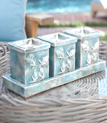 decorative coastal candle tray