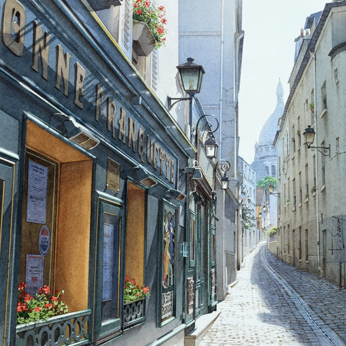 21-Montmartre-Thierry-Duval-Snippets-of Real-Life-in Watercolor-Paintings-www-designstack-co