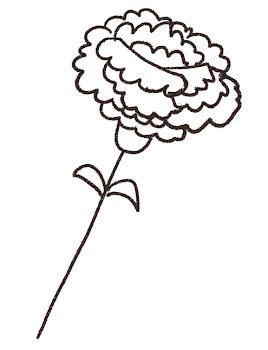 カーネーションのイラスト「花一輪」線画