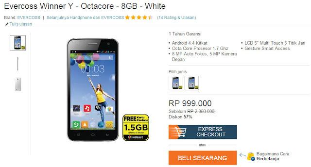 Promo special, smartphone Evercros Winner Y dengan prosesor 1,7 Ghz hanya Rp. 999.000