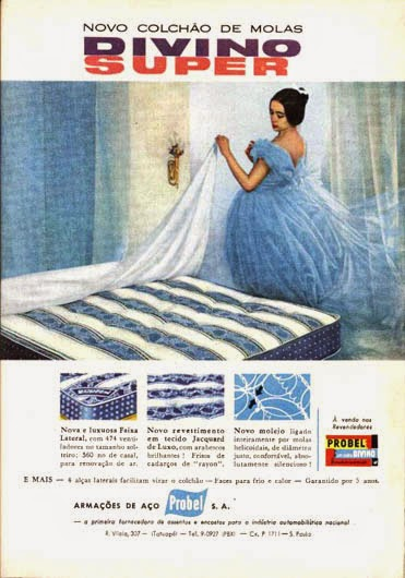 Propaganda dos colchões Divino Super da Probel, apresentado nos anos 50.
