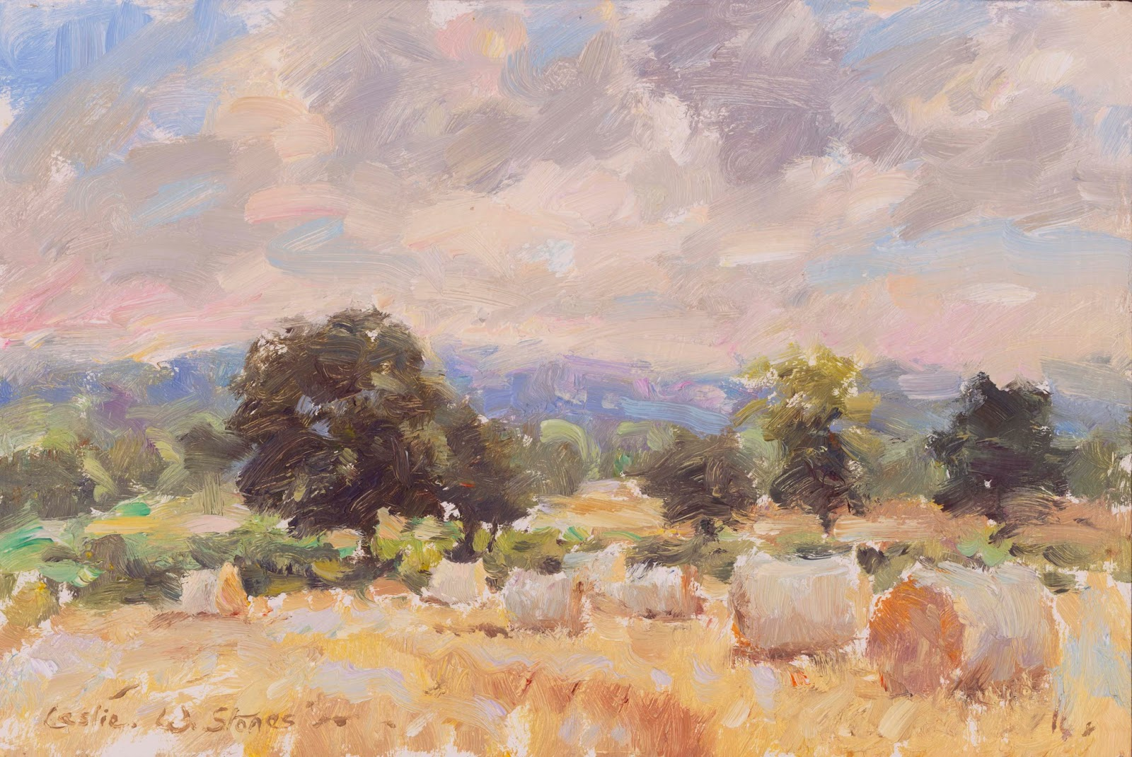 landscape painting of a field with straw bales