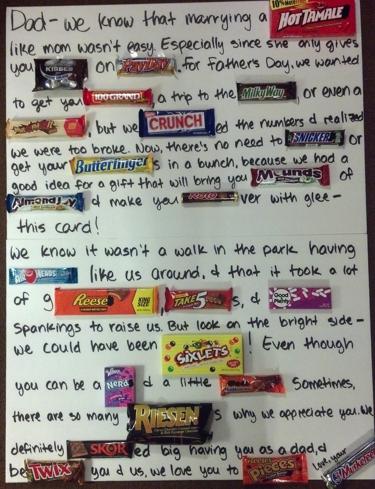 Michelle Mae Inspired: Late Father's Day Post - Candy Letter