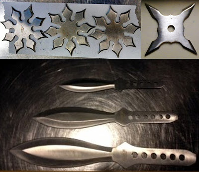 (L-R) Three Throwing Stars (BWI), One Throwing Star (EWR), Throwing Knives (EWR)