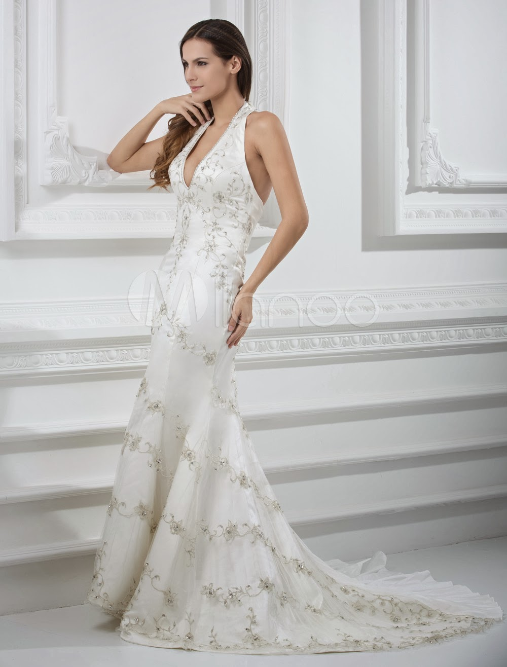 China Wholesale Dresses - Glamorous Ivory Beading V-Neck Sleeveless Mermaid Wedding Dress For Bride