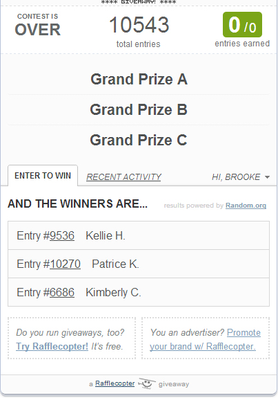 Ultimate Giveaway Winners Announced!