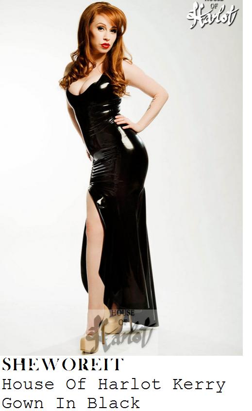 chloe-sims-black-sleeveless-halter-high-shine-latex-fishtail-gown-ntas