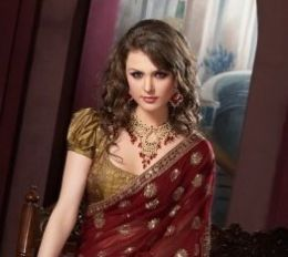 golden with red saree blouse