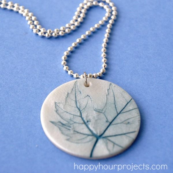 22 diy necklace pendants do small things with great love leaf imprint pendant from happy hour projects aloadofball Choice Image