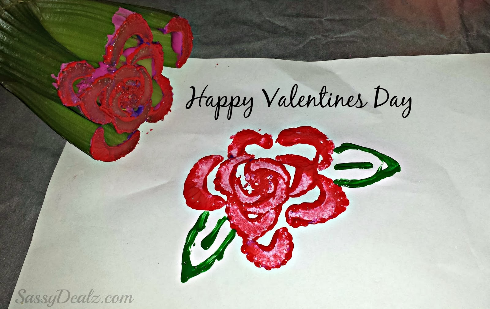 red rose celery stamp craft - Happy Valentine Glass Rose Pipe
