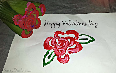 red rose celery stamp craft