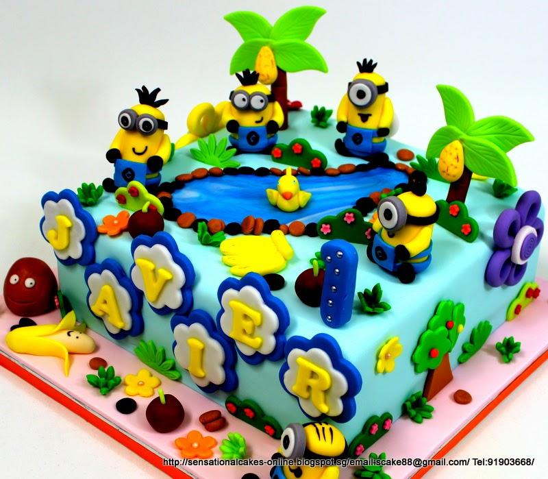 Minions Party Theme Minion Having Jungle Fun 1st Birthday Cake Singapore GREAT OUTDOOR MINION DESIGN CAKE SINGAPORE