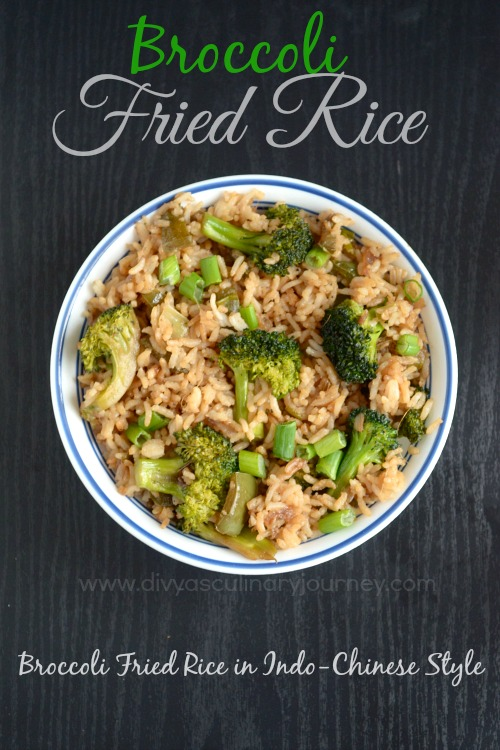 Broccoli Fried Rice made in Indo-chinese style