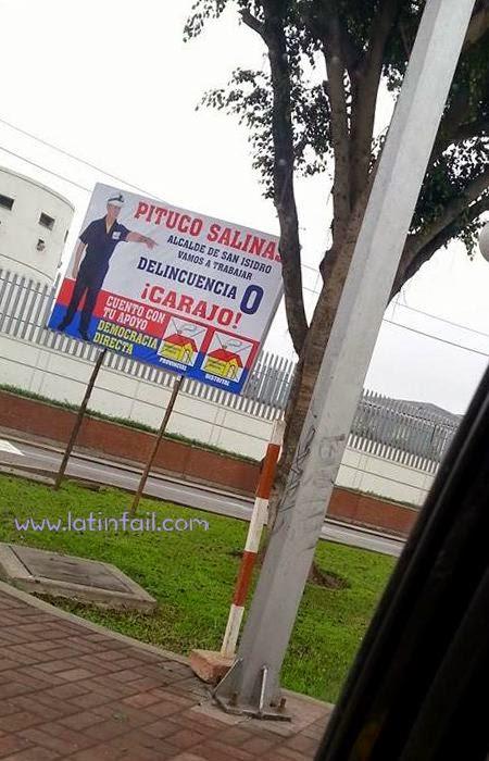 HUMOR PUBLICIDAD PARA LAS ELECCIONES ELECTORALES 2014 - PITUCO SALINAS - DELINCUENCIA 0 - DEMOCRACIA DIRECTA