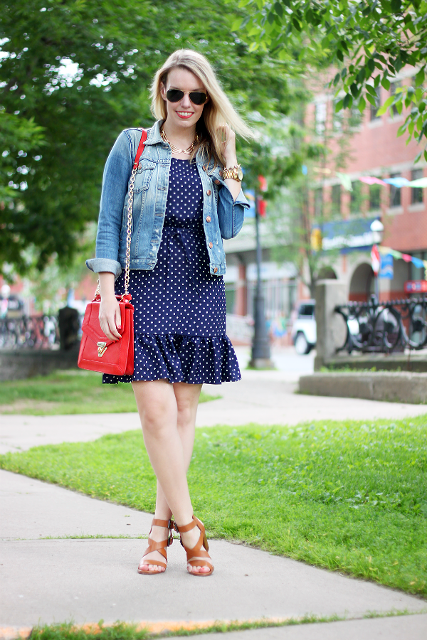 Joe Fresh Polka Dot Dress, Red White and Blue outfit, Sole Society bag, Zara sandals