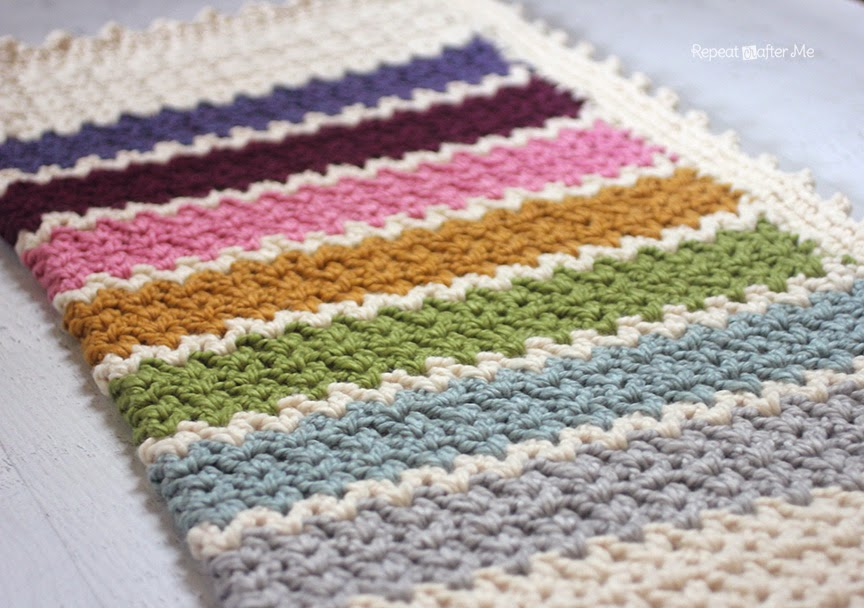 Crochet Quick Blanket : Repeat Crafter Me: Quick and Easy Chunky Crochet V-Stitch Afghan ...
