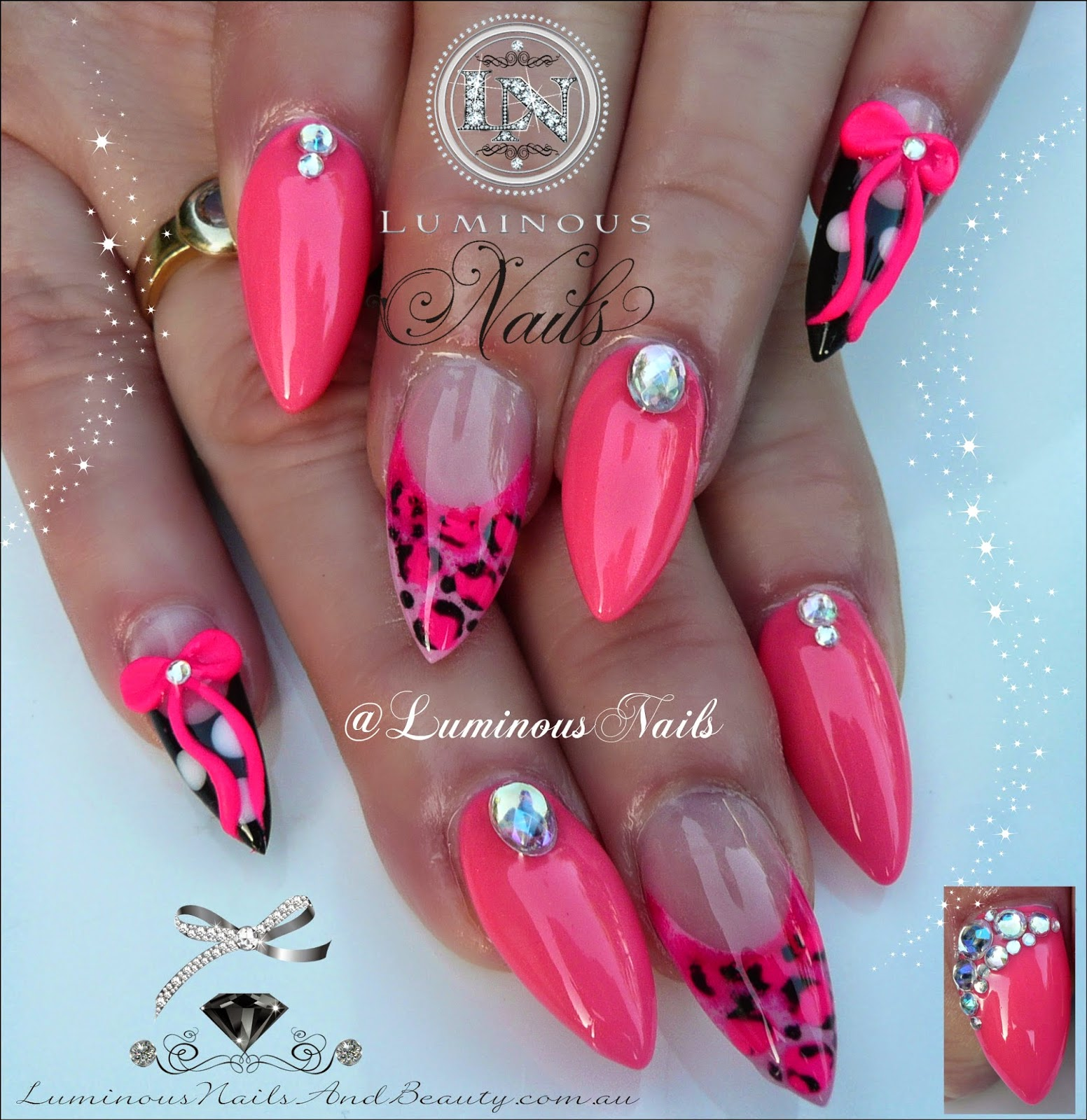 Hot Pink Nails With Leopard