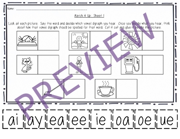http://www.teacherspayteachers.com/Product/NO-PREP-Vowel-Digraphs-Packet-1321548