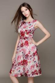 Simple Elegant Canvas Printing Pure Silk Flare Dress