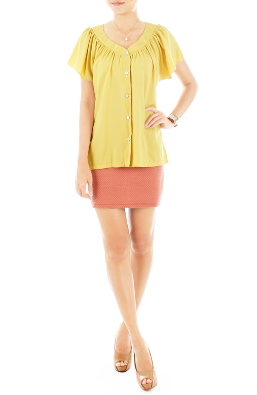 Flair Flutter Sleeve Blouse – Soft Yellow