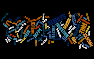 The image consist of jumbled words forming a picture. Some words include baseball, teaching, nursing, and happy.