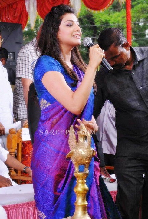 Kajal-agarwal-blue-saree-Karikkineth-silks-inauguration-Kottayam