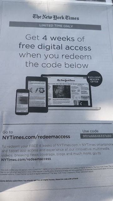 NYT 4 week subscription code printscreen