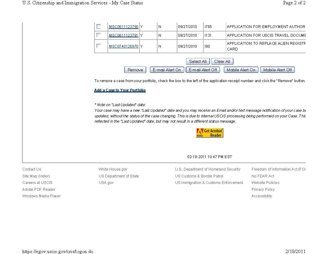 uscis case status i 130 i 485 applications and case status summary