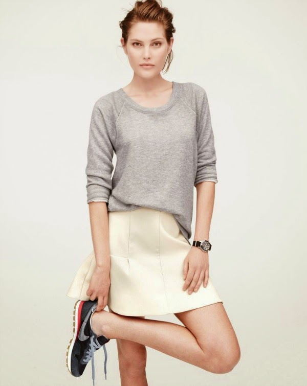 j crew skirt and sneakers