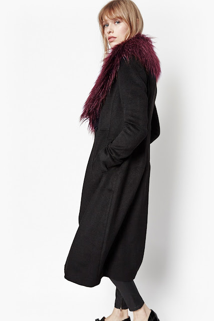 black coat red fur collar